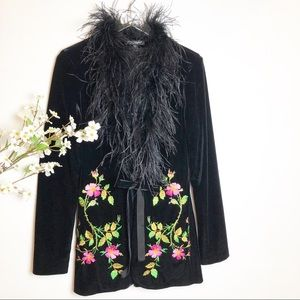 Betsey Johnson | Velvet Feather Embroidered Jacket